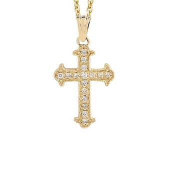 1/12ct tw Diamond Cross Necklace in 14K Yellow Gold
