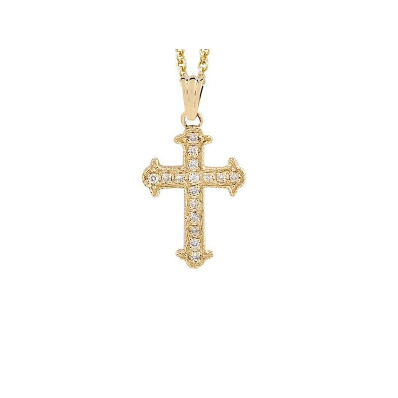 1/12ct tw Diamond Cross Necklace in 14K Yellow Gold