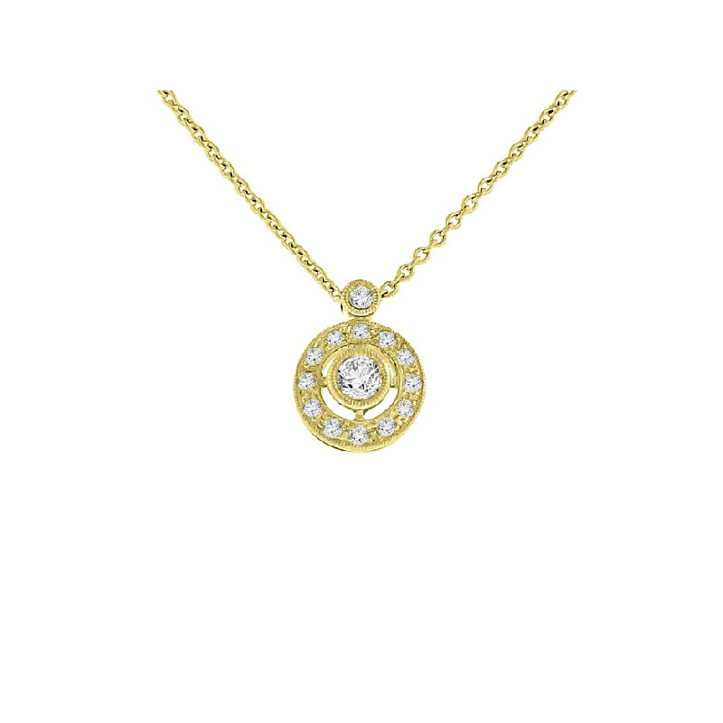 1/5ct tw Diamond Halo Necklace in 14K Yellow Gold