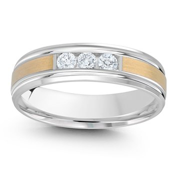 1/5ct tw Diamond Wedding Ring in 14K White & Yellow Gold