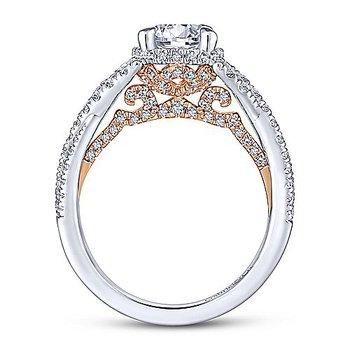 3/4ct tw Diamond Engagement Ring Setting in 14K White & Rose Gold