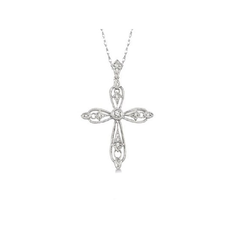 1/8ct tw Diamond Cross Necklace in 10K White Gold