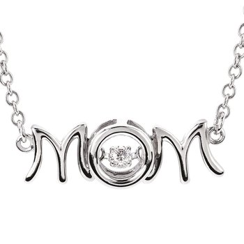 """.05ct tw Diamond Drop of Life """"MOM"""" Necklace in Sterling Silver"""