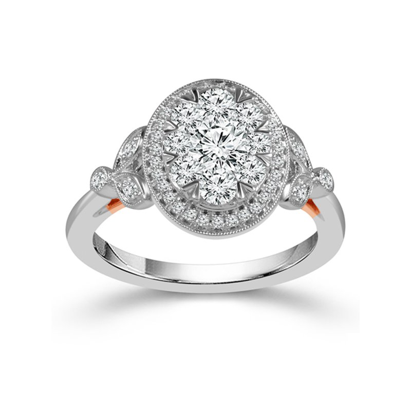 1ct tw Diamond Halo Thousand Points of Light Engagement Ring in 10K White & Rose Gold