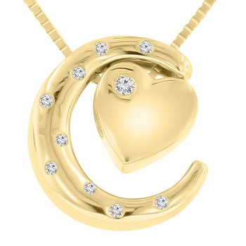 .03ct tw Diamond Moon & Back Necklace in 10K Yellow Gold