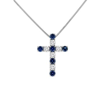 7/8ct tw Diamond & Blue Sapphire Cross Necklace in 14K White Gold