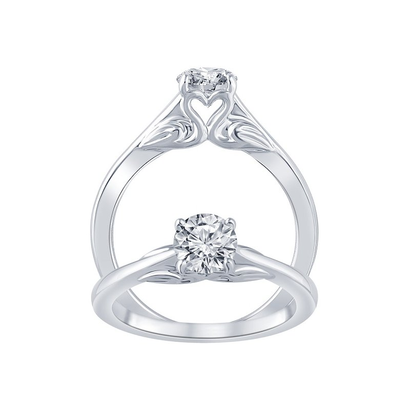3/4ct tw Diamond Swan Collection Solitaire Engagement Ring in 14K White Gold