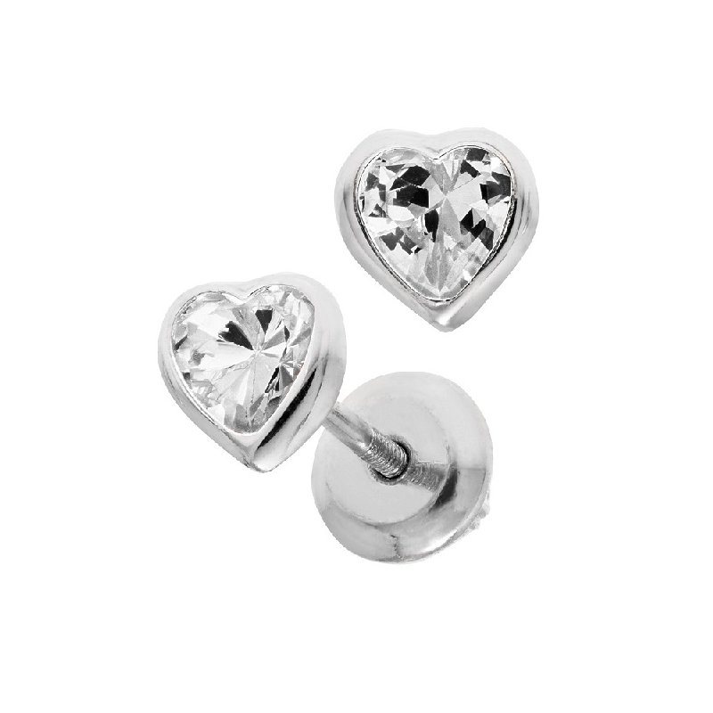 April Birthstone Heart Earrings in Sterling Silver