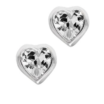 April Birthstone Heart Earrings in Sterling Silver