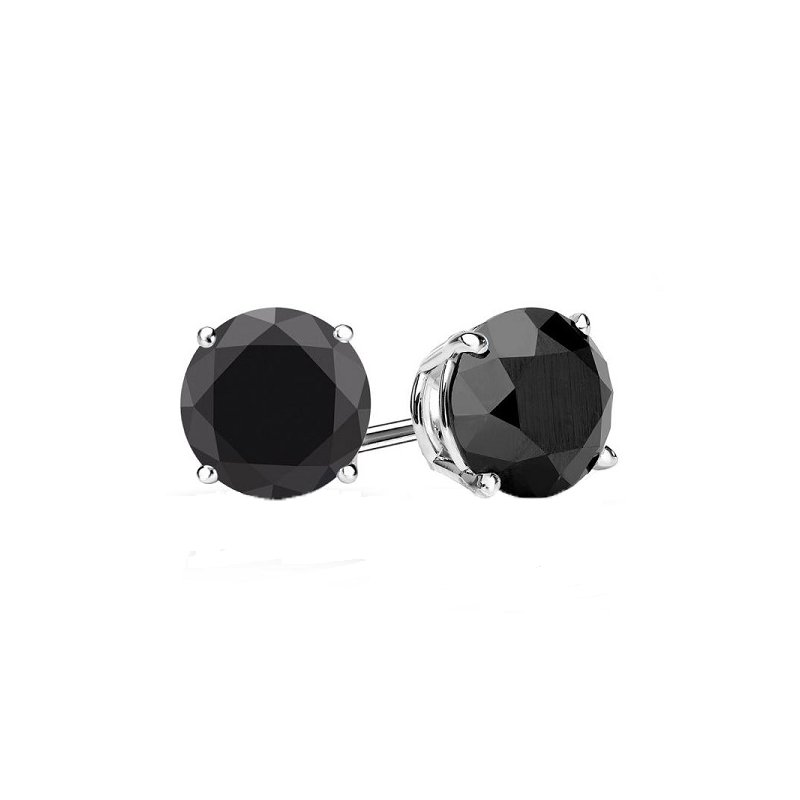 2ct tw Black Diamond Solitaire Stud Earrings in 10K White Gold