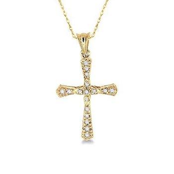 1/8ct tw Diamond Cross Necklace in 14K Yellow Gold