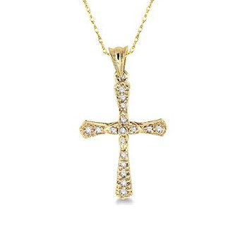 1/8ct tw Diamond Cross Necklace in 14K Yellow Gold