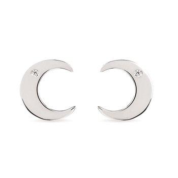.02ct tw Diamond Crescent Moon Earrings in Sterling Silver