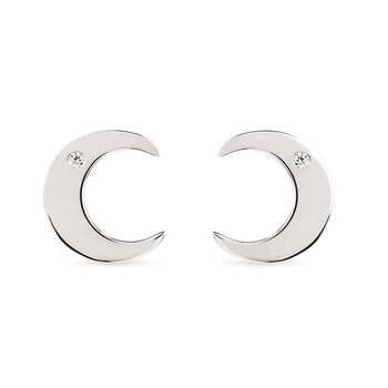 .02ct tw Diamond Crescent Moon Earrings in Sterling Silver