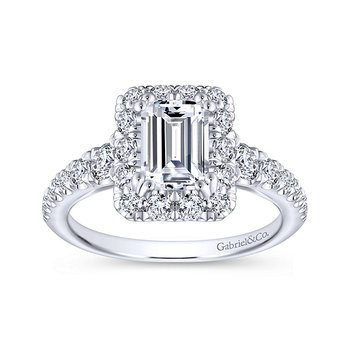 2 1/8ct tw Diamond Halo Engagement Ring in 14K White Gold
