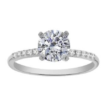 1/10ct tw Diamond Engagement Ring Setting in 14K White Gold