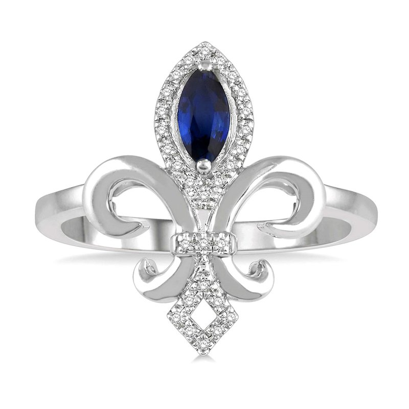 1/10ct tw Diamond & Blue Sapphire Fleur De Lis Ring in 10K White Gold