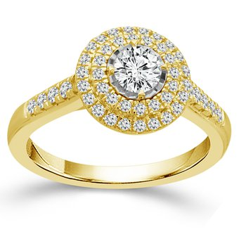 3/4ct tw Dimaond Halo Engagement Ring in 14K Yellow Gold