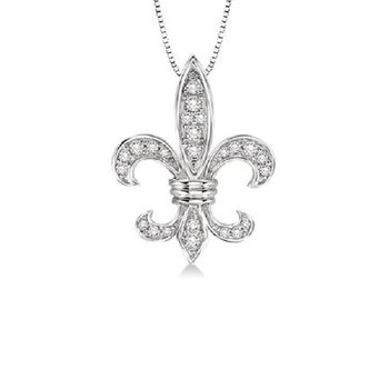 1/4ct tw Diamond Fleur De Lis Necklace in 14K White Gold