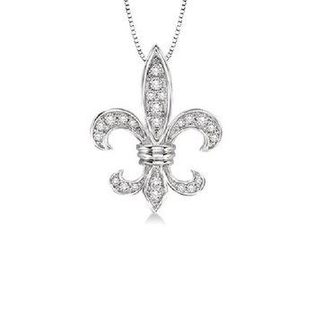 1/4ct tw Diamond Fleur De Lis Necklace in 14K White Gold