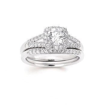 1ct tw Diamond Love's First Kiss Halo Engagement Ring in 14K White Gold