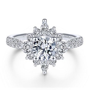 2ct tw NewBorn Lab Created Diamond Halo Engagement Ring in 14K White Gold