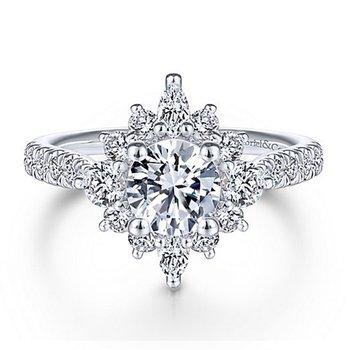 2ct tw NewBorn Lab Created Diamond Halo Engagement Ring in 14K White Gold