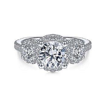 3/4ct tw Diamond Three Stone Halo Engagement Ring Setting in 14K White Gold
