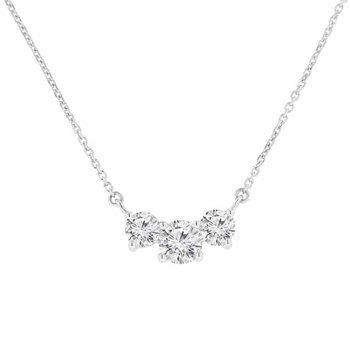 1ct tw NewBorn Lab Created Diamond Three Stone Necklace in 14K White Gold