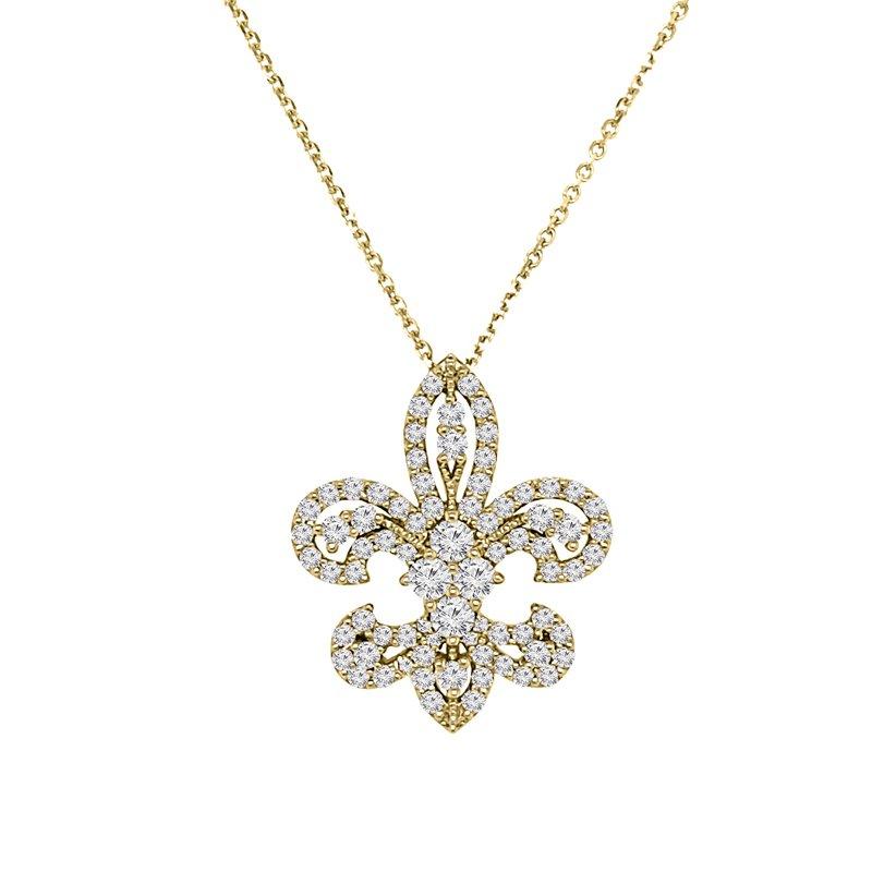 1ct tw NewBorn Lab Created Diamond Fleur De Lis Necklace in 14K Yellow Gold
