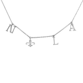 .03ct tw Diamond Nola Collection Fleur De Lis Necklace in Sterling Silver