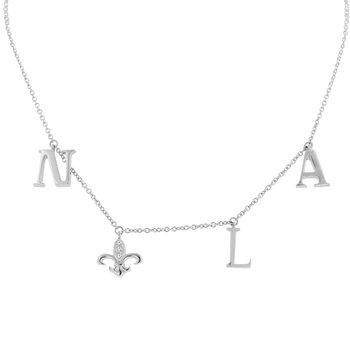 .03ct tw Diamond Nola Collection Fleur De Lis Necklace in Sterling Silver