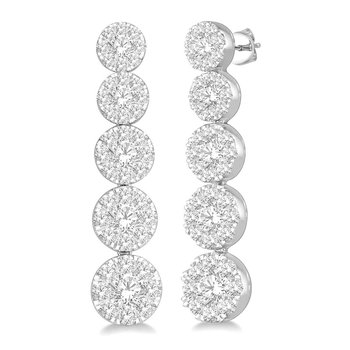 1 1/8ct tw Diamond Thousand Points of Light Earrings in 14K White Gold