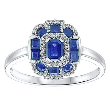 1 1/8ct tw Diamond & Blue Sapphire Halo Fashion Ring in 14K White Gold