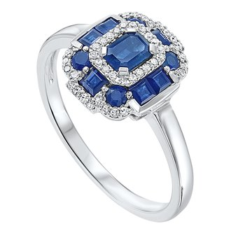 1 1/8ct tw Diamond & Blue Sapphire Halo Fashion Ring in 14K White Gold
