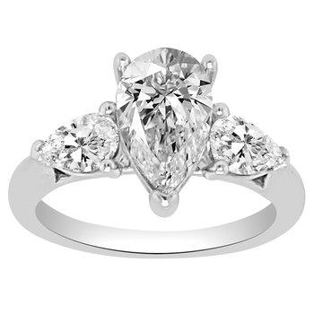 2 5/8ct tw NewBorn Lab Created Three Stone Engagement Ring in 14K White Gold