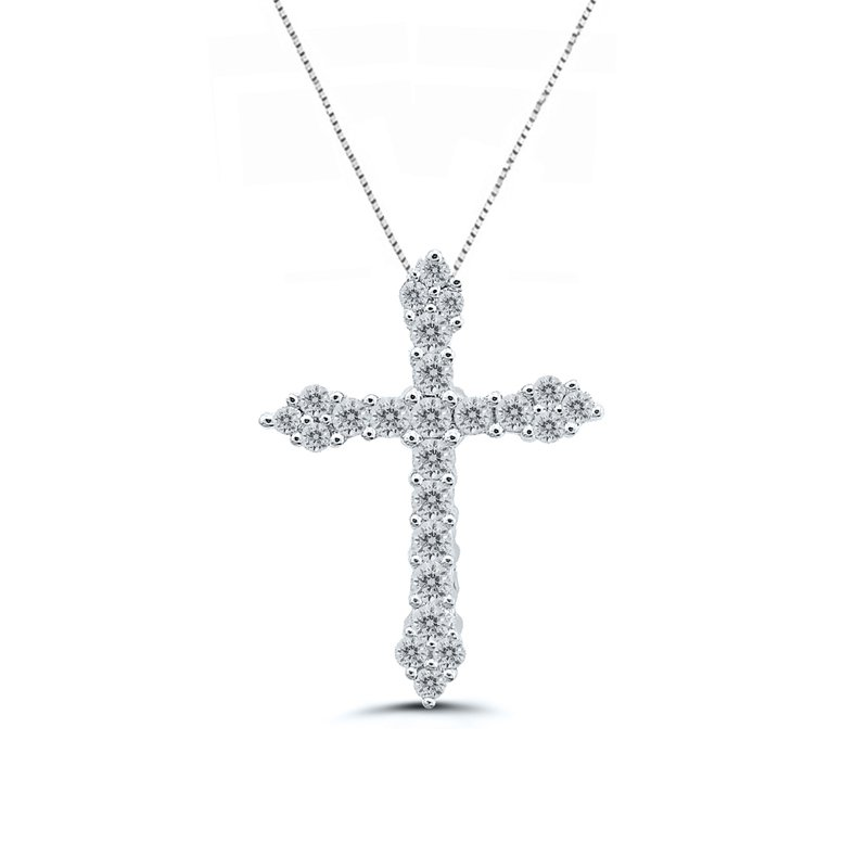 1/2ct tw Diamond Cross Necklace in 14K White Gold