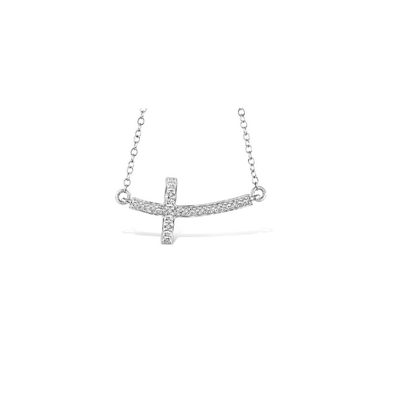 .03ct tw Diamond Cross Necklace in Sterling Silver