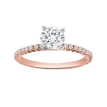 1/4ct tw Diamond Engagement Ring Setting in 18K Rose Gold