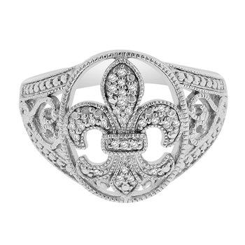 1/14ct tw Diamond Fleur de Lis Ring in Sterling Silver