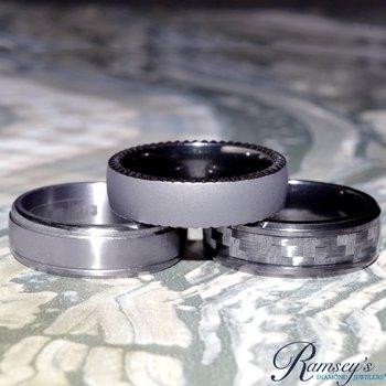 8mm Wedding Ring in Tantalum & Carbon Fiber