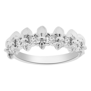 1/10ct tw Diamond Fleur De Lis Anniversary Ring in 10K White Gold