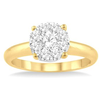 1/4ct tw Diamond Thousand Points of Light Engagement Ring in 14K White & Yellow Gold