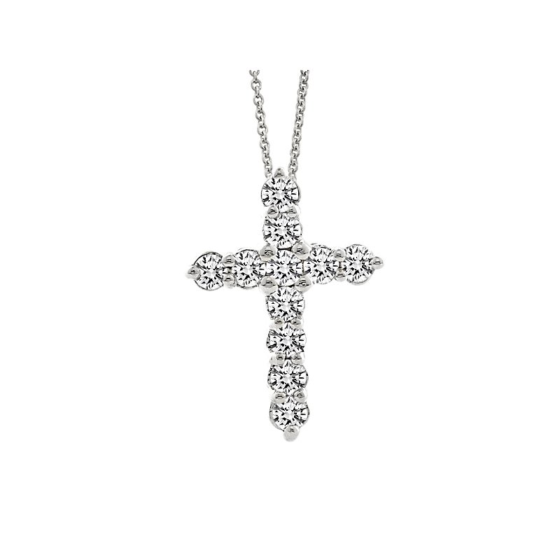 1ct tw Diamond Cross Necklace in 14K White Gold