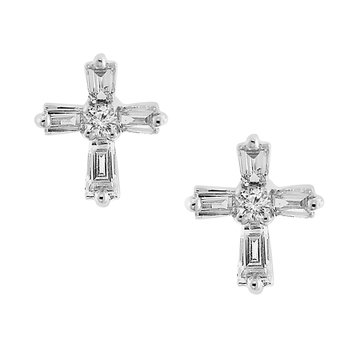 1/5ct tw Diamond Cross Stud Earrings in 18K White Gold