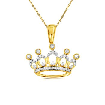 1/8ct tw Diamond Nola collection Crown Necklace in 14K Yellow Gold