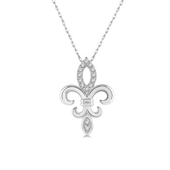 1/14cttw Diamond Fleur De Lis Necklace in 10K White Gold
