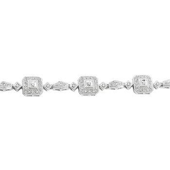 1/8ct tw Diamond Halo Bracelet in Sterling Silver