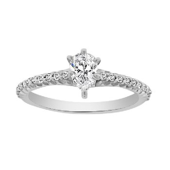 5/8ct tw Diamond Engagement Ring in 19K White Gold