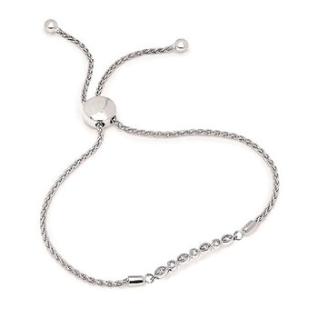 1/8ct tw Diaond Bolo Bar Bracelet in Sterling Silver